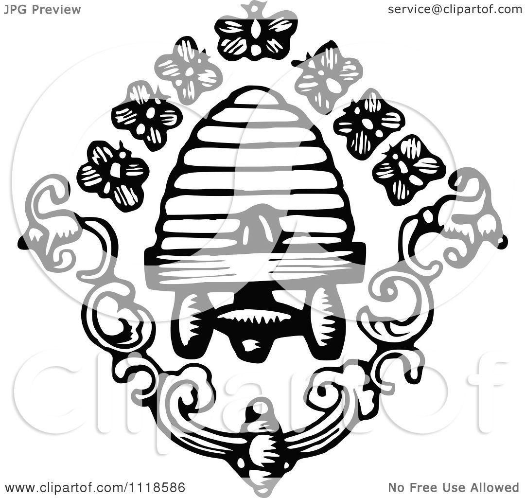 Clipart Of Retro Vintage Black And White Bees Hive