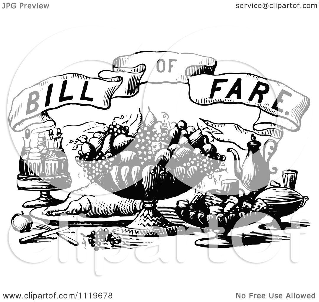 Clipart Of Retro Vintage Black And White Bill Of Fare Text ...