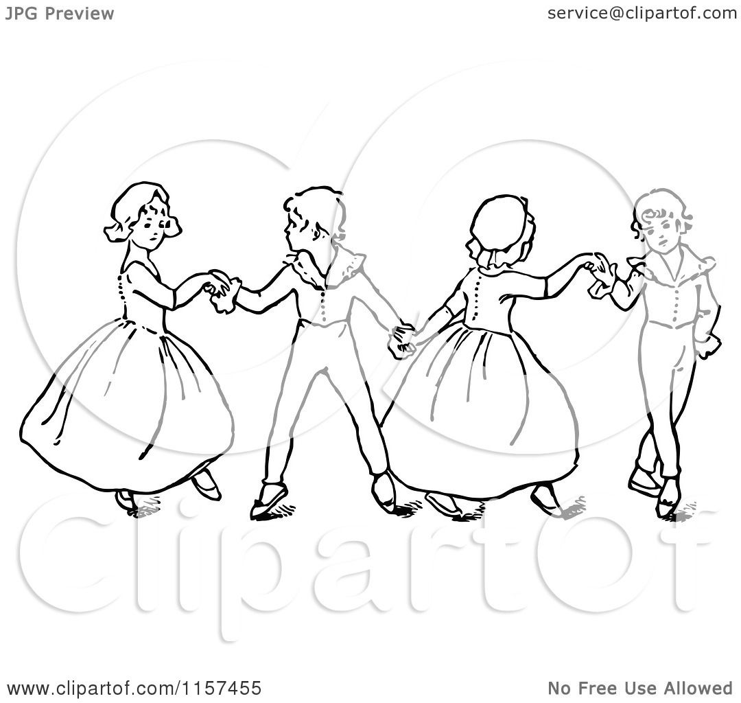 Clipart of Retro Vintage Black and White Children Dancing ...