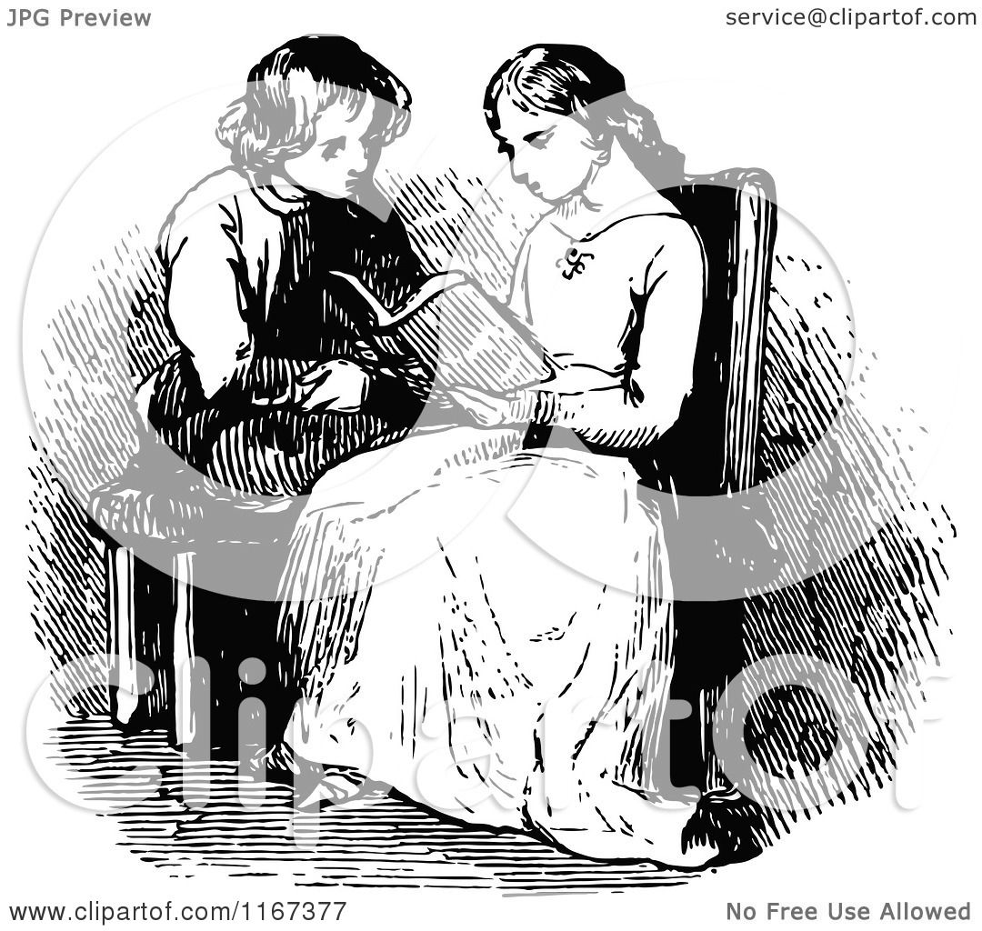 Clipart of Retro Vintage Black and White Children Reading ...
