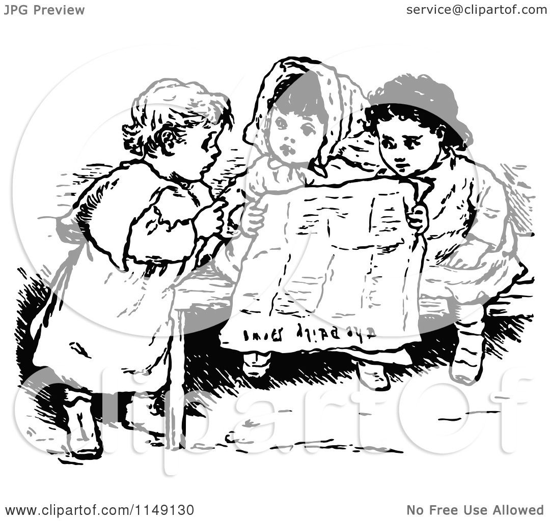 Clipart Of Retro Vintage Black And White Children Reading A Newspaper