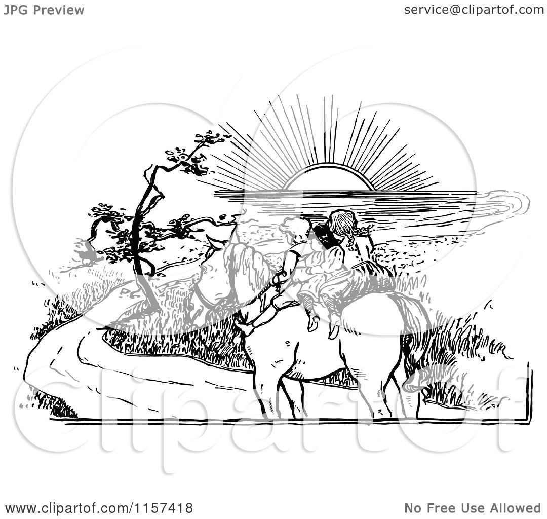 Clipart of Retro Vintage Black and White Children Riding a ...