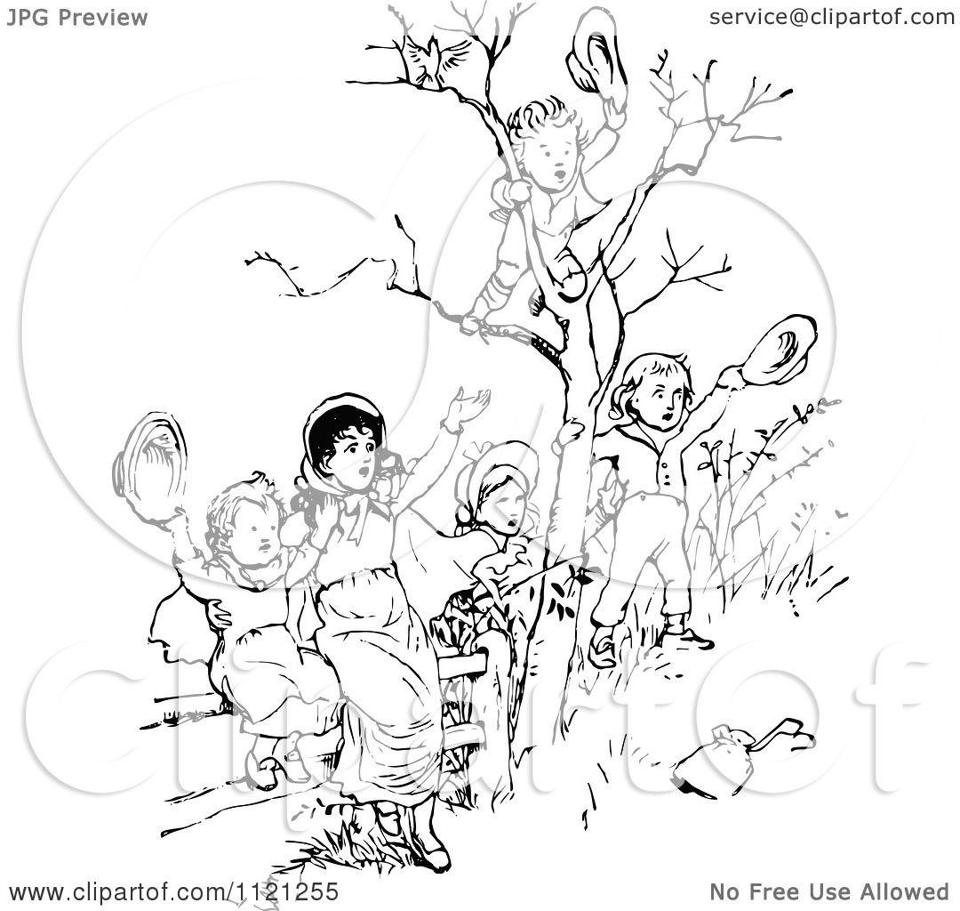 Clipart Of Retro Vintage Black And White Children Waving ...