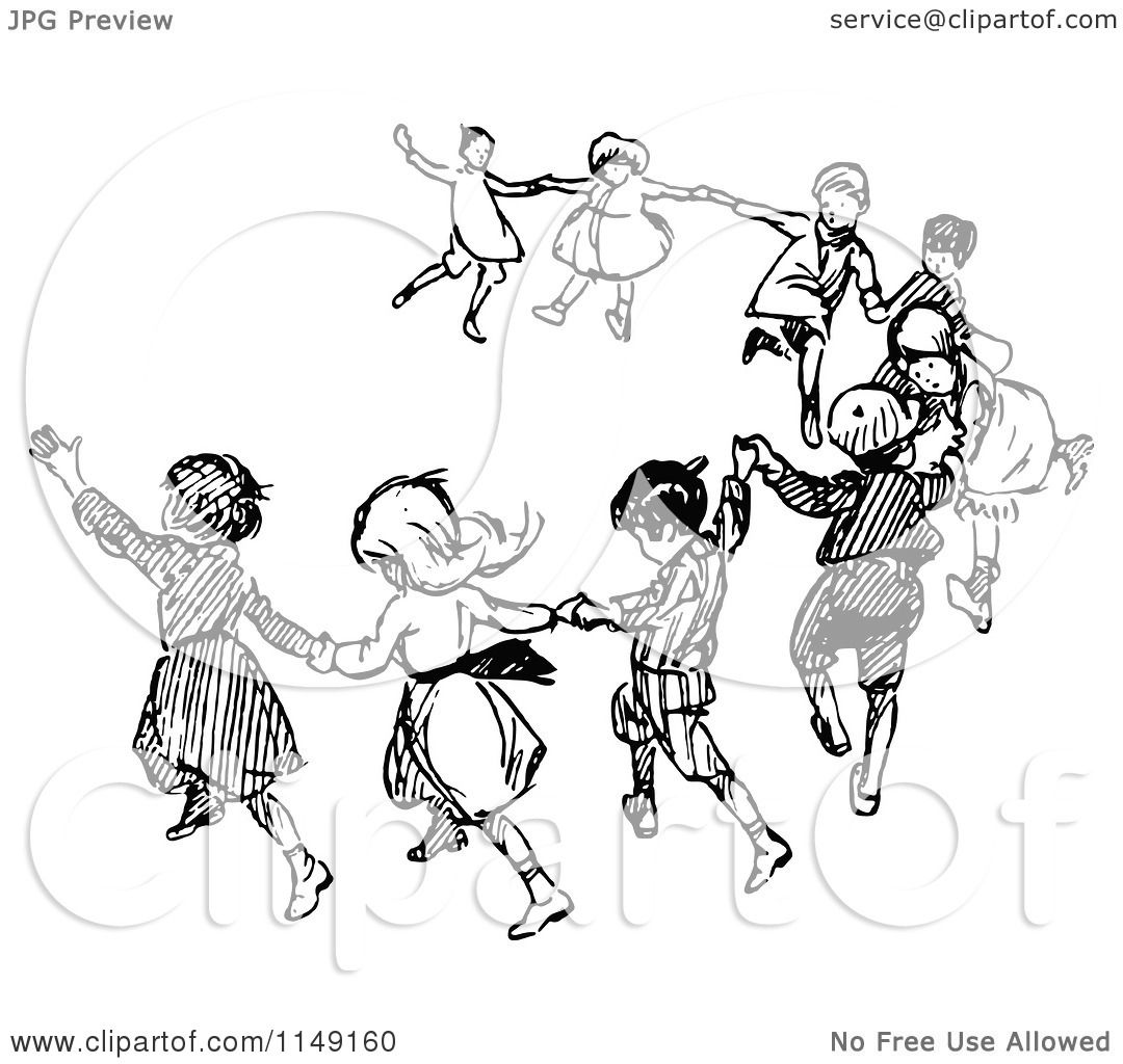 Classic Retro Illustration: Clipart Of Retro Vintage Black And White Dancing Children