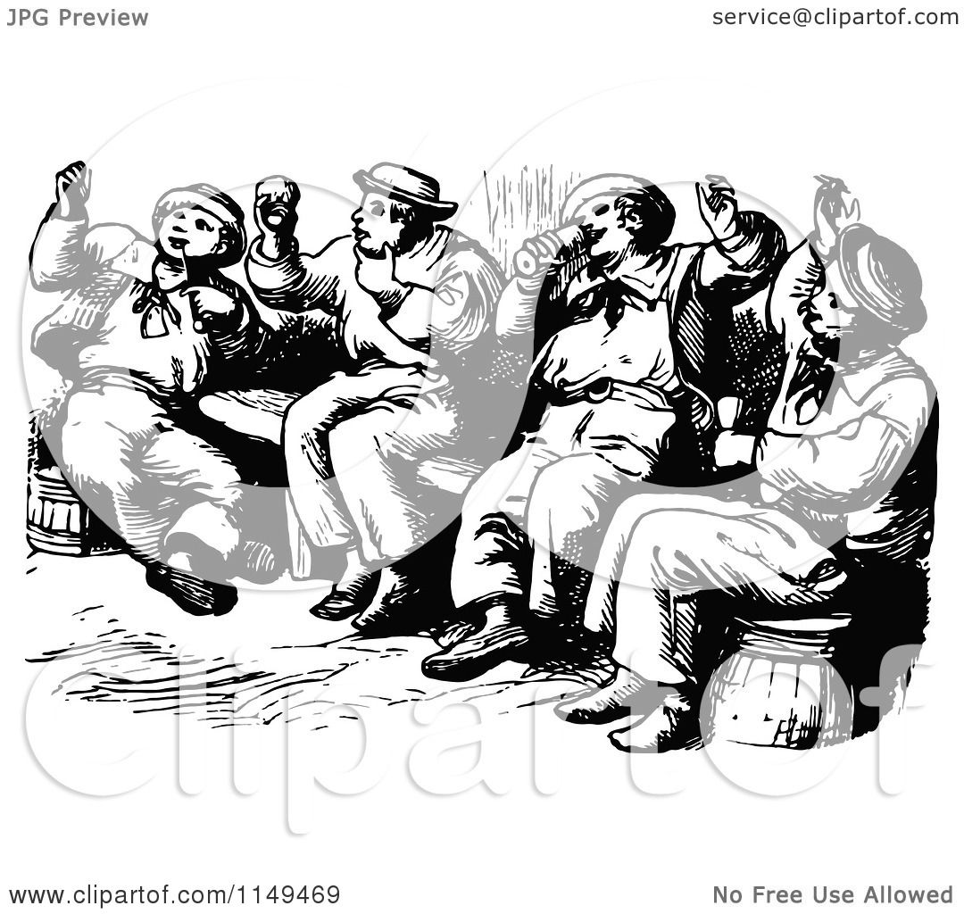 Clipart Of Retro Vintage Black And White Drunk Men Singing
