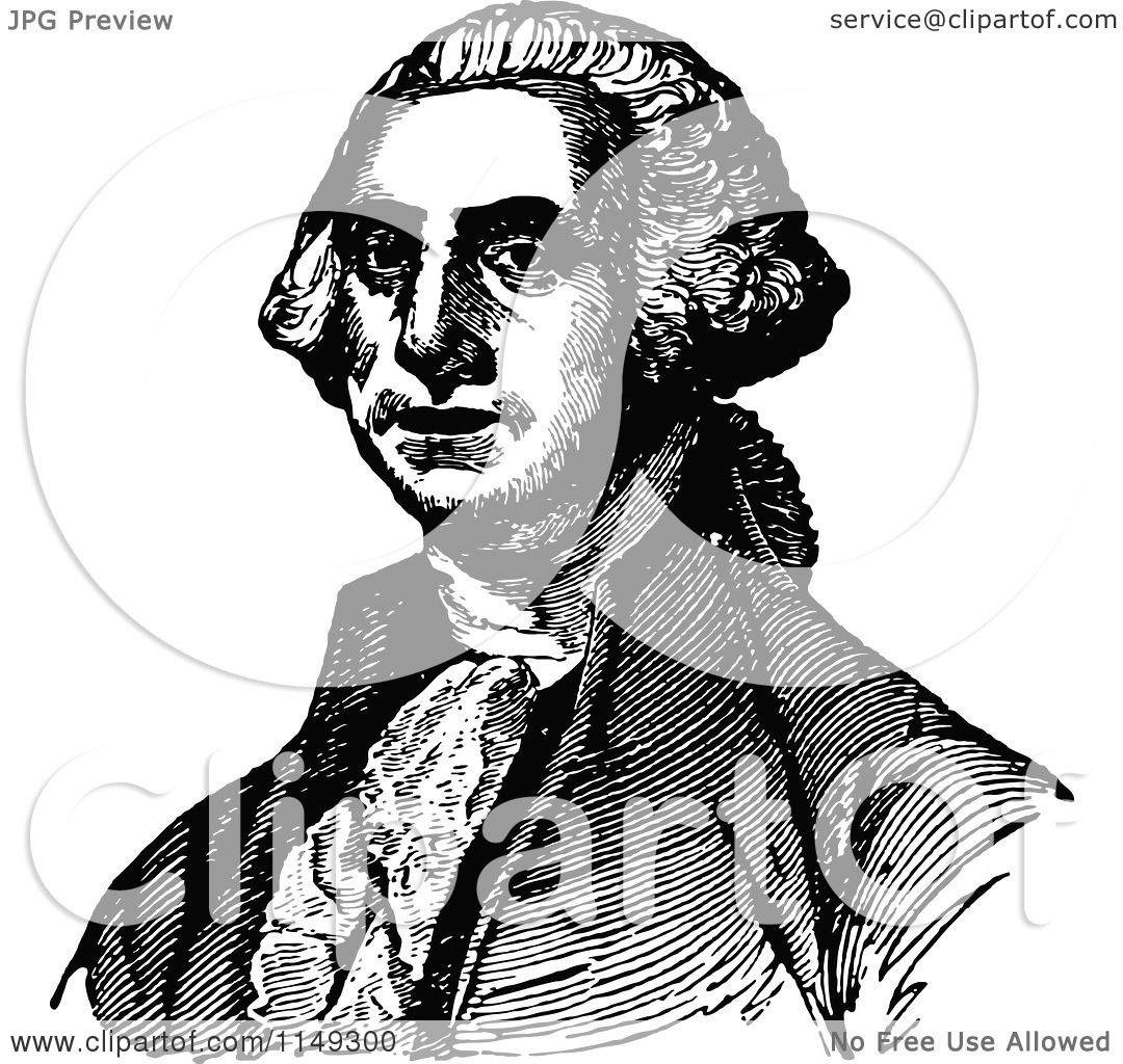 Clipart of Retro Vintage Black and White George Washington ...