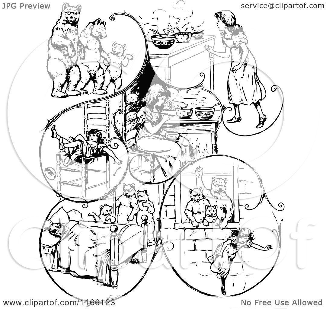 Of Retro Vintage Black And White Goldilocks The Three Bears