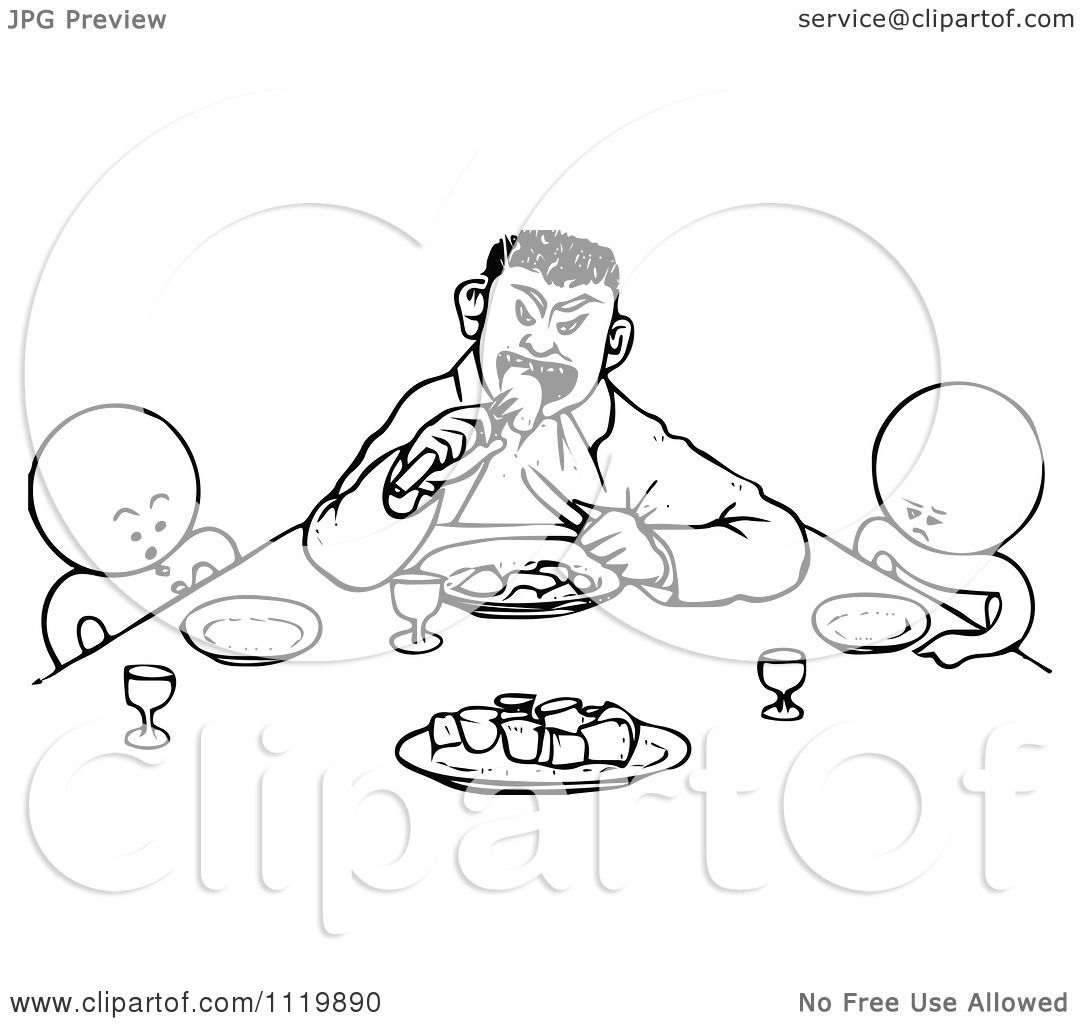 Clipart Of Retro Vintage Black  Table Manners For Kids Clipart