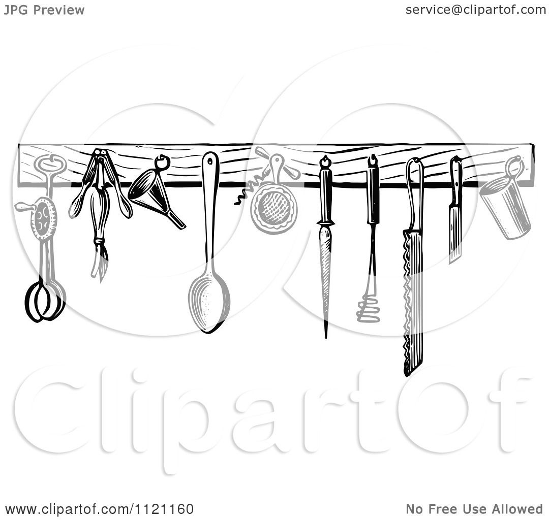 Retro Kitchen Illustration: Clipart Of Retro Vintage Black And White Kitchen Tools