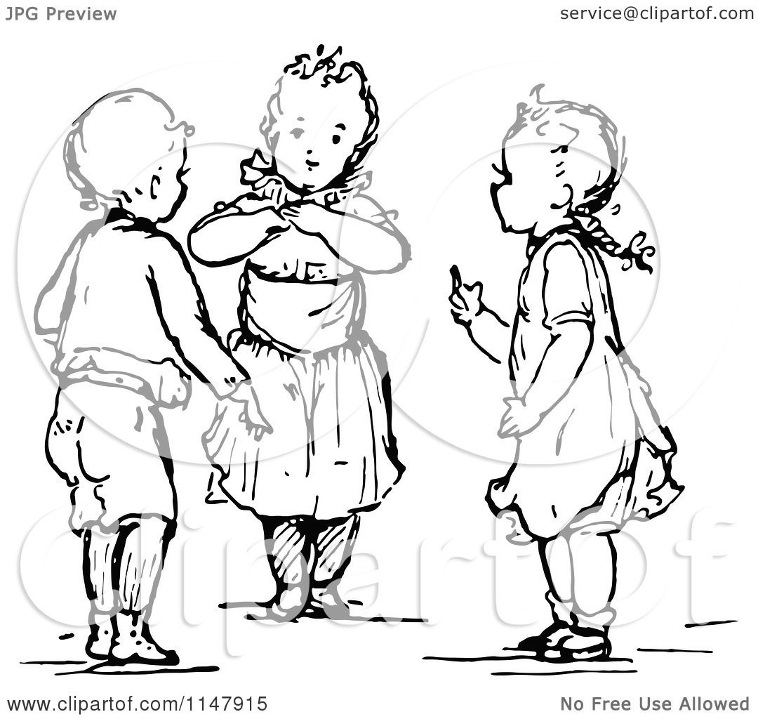 Clipart of Retro Vintage Black and White Little Children ...
