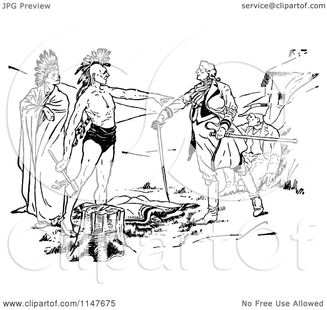 Clipart of Retro Vintage Black and White Native American and ...