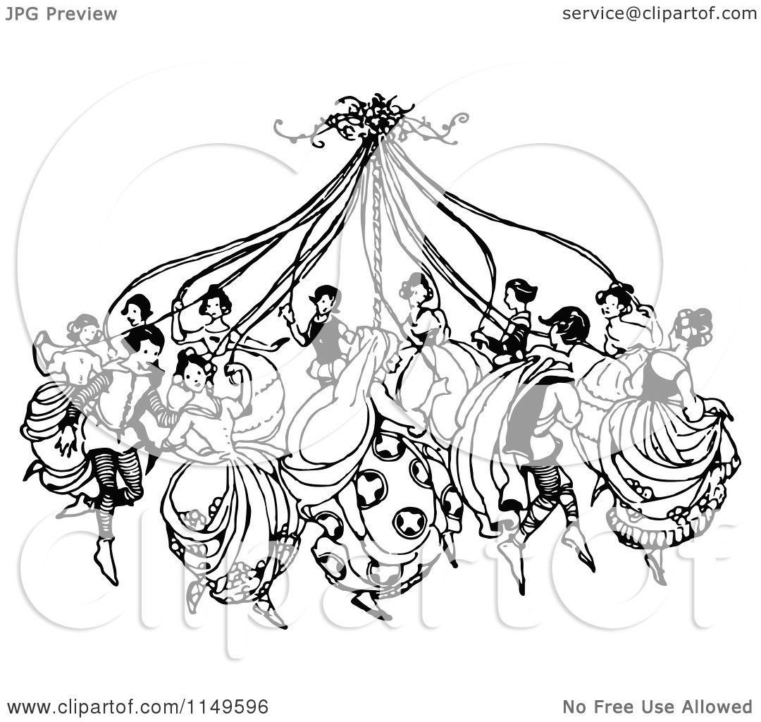 Clipart of Retro Vintage Black and White People Dancing ...