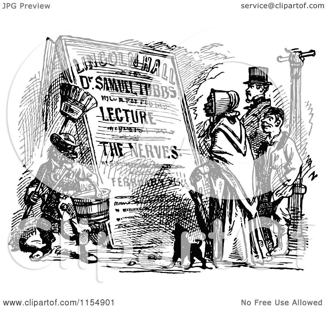Clipart of Retro Vintage Black and White People Reading a ...