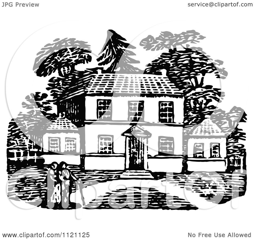 Clipart Of Retro Vintage Black And White People Strolling ...