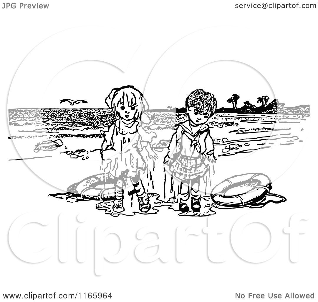 Clipart of retro vintage black and white wet overboard kids on a beach royalty free
