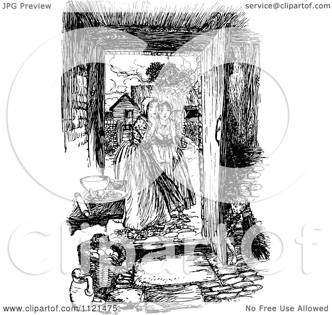 Clipart Of Retro Vintage Black And White Women At An Open Door