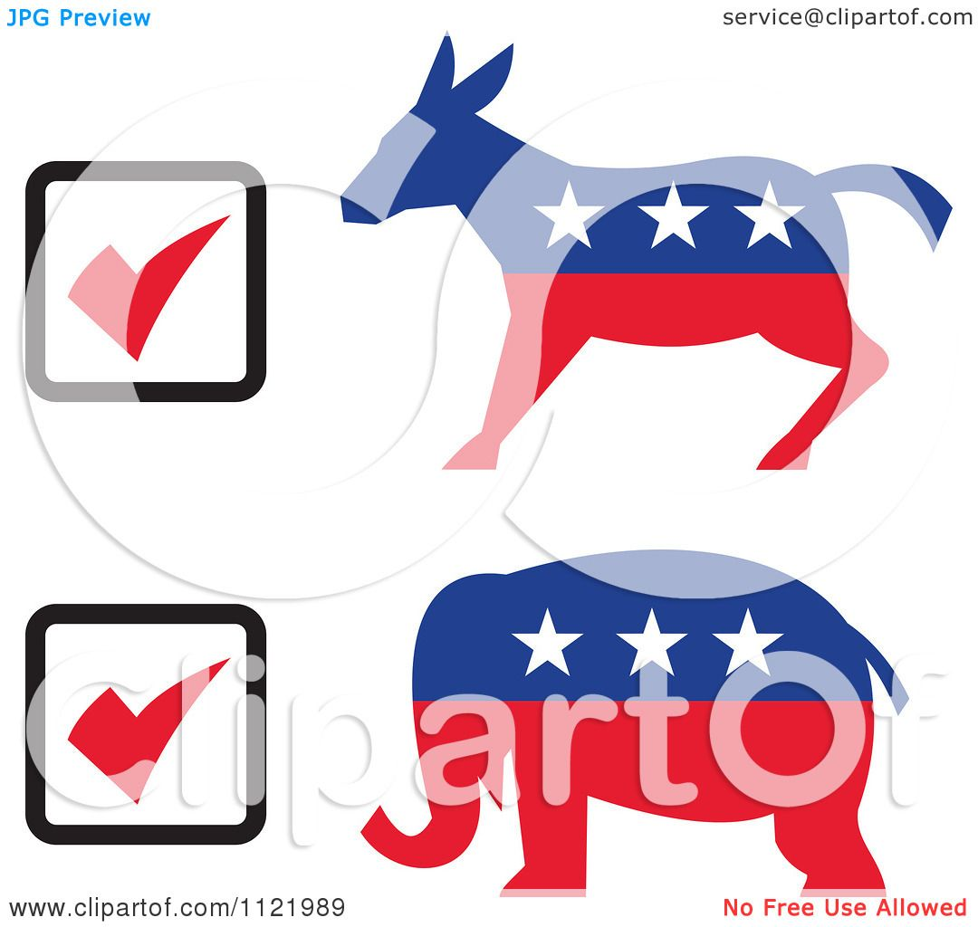 clipart of retro voting check boxes with republican elephant and rh clipartof com democrat republican clipart republican clipart transparent background