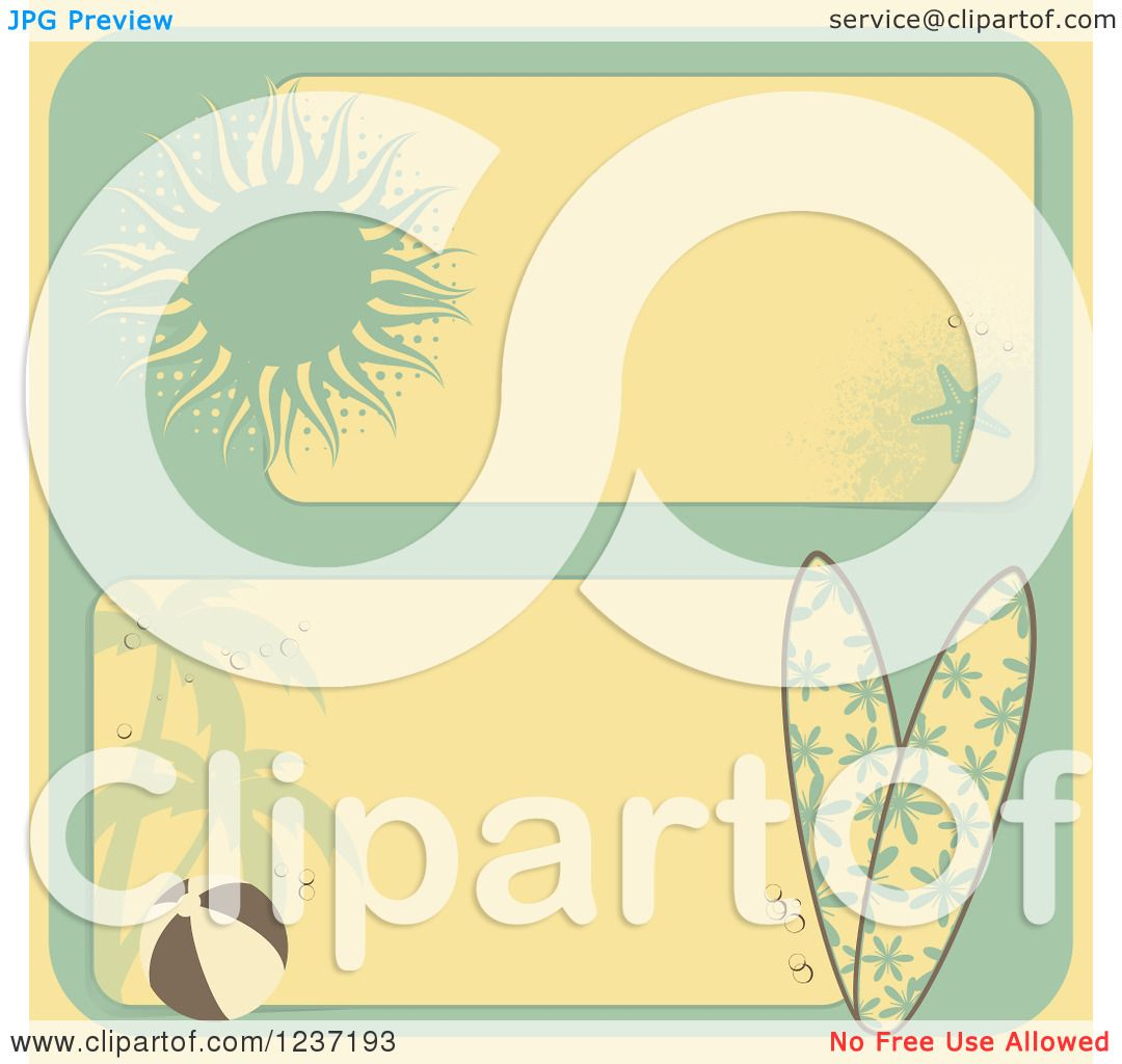 Beautiful Vintage Summer Seaside Illustration Royalty Free: Clipart Of Retro Yellow And Turquoise Summer Beach Borders