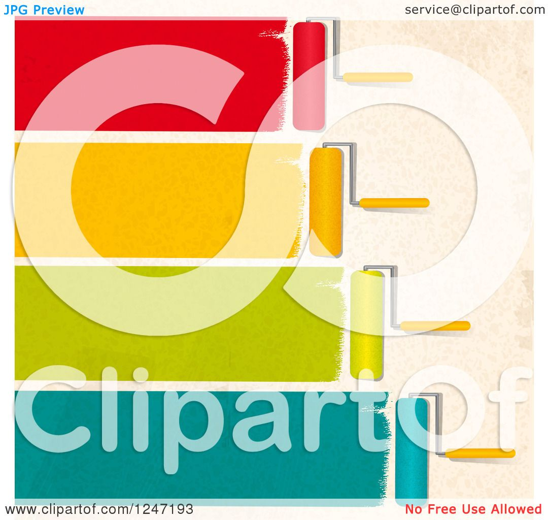 Clipart of Roller Brushes Painting Colorful Strokes on a Beige Wall ...