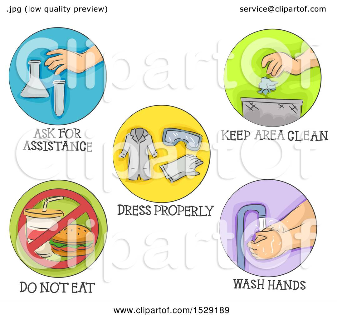 Clipart Of Round Colorful Safety Icons In The Laboratory