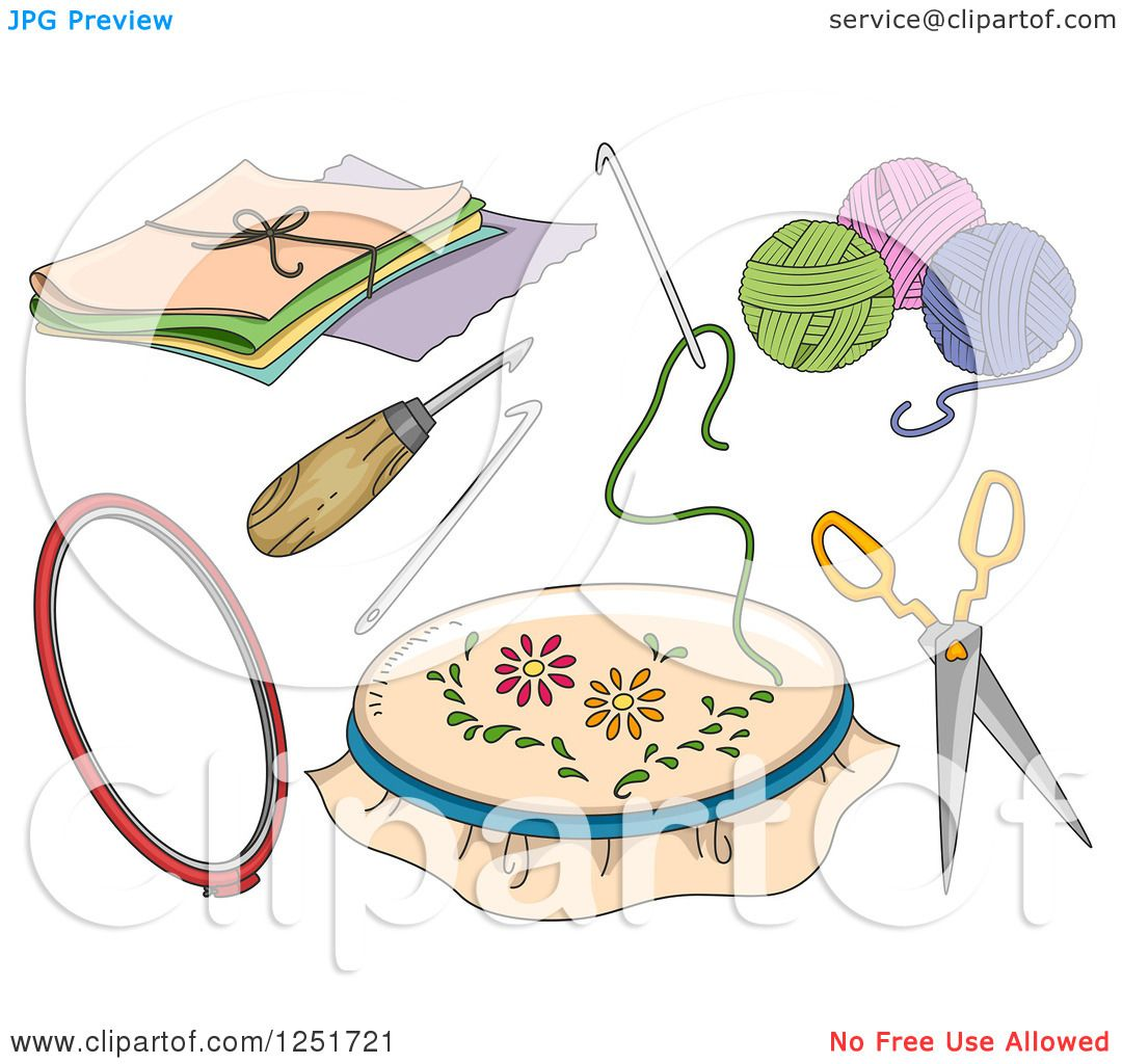 Clipart of rug hooking accessories royalty free vector - Clipart illustration ...