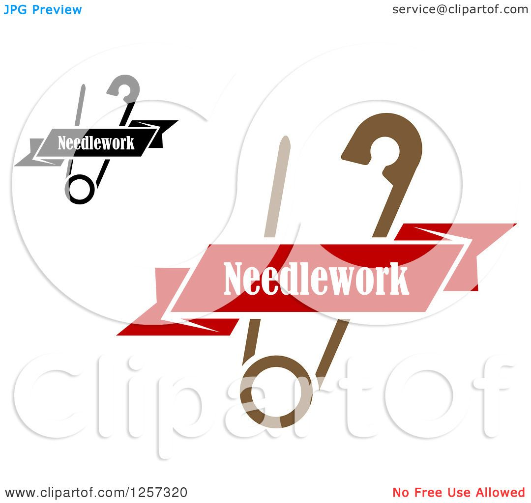 Clipart of Safety Pin Withs Ribbon Needlework Banners
