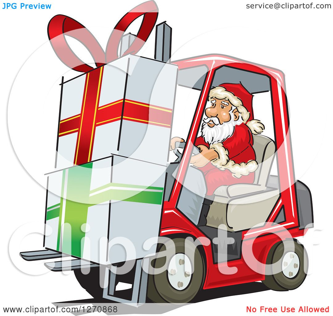 clipart of santa claus moving big christmas gifts on a forklift royalty free vector illustration by david rey - Big Christmas Gifts
