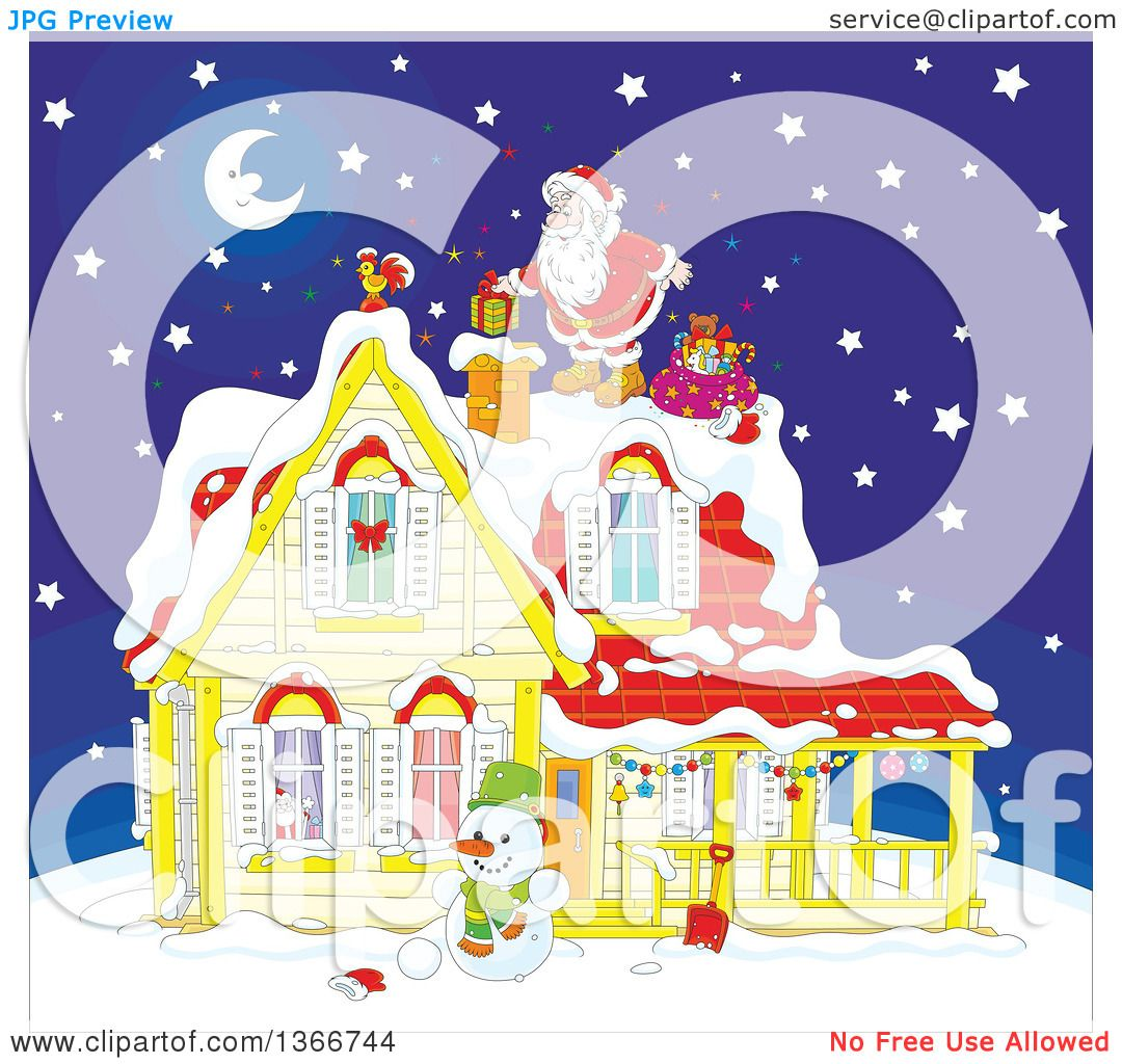 Clipart of Santa Claus on a Roof