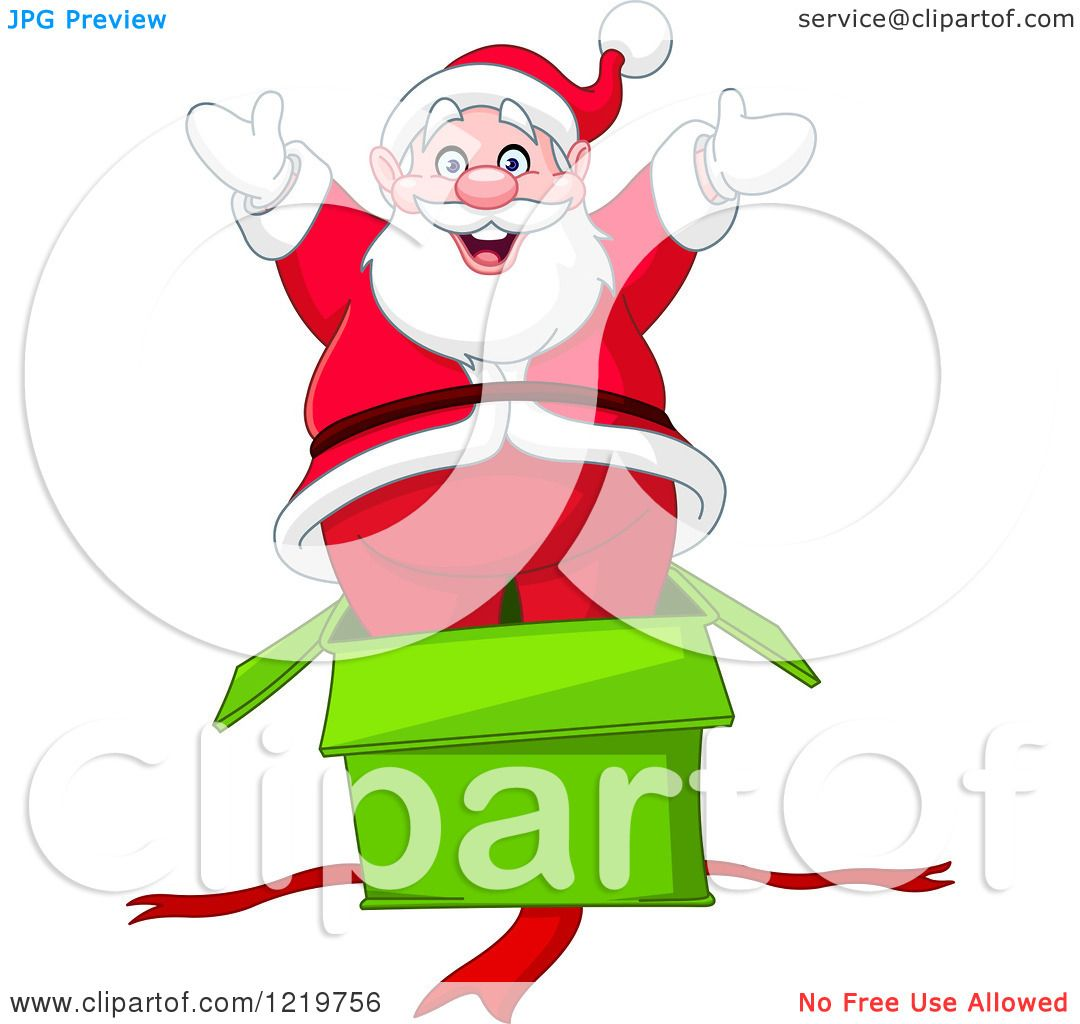 clipart of santa claus popping out of a surprise gift box royalty free vector illustration by yayayoyo - Free Santa Claus Pictures