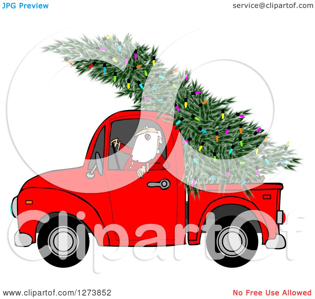 Good Free Christmas Tree Pick Up Part - 13: Clipart Of Santa Driving A Fresh Cut Christmas Tree With Lights In A Red  Pickup Truck - Royalty Free Illustration By Djart