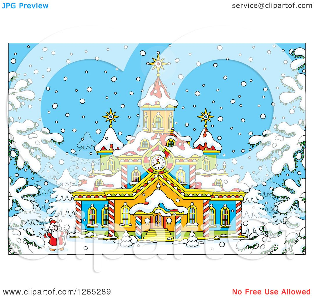Clipart of Santa Outside a Christmas Church in the Snow - Royalty ...