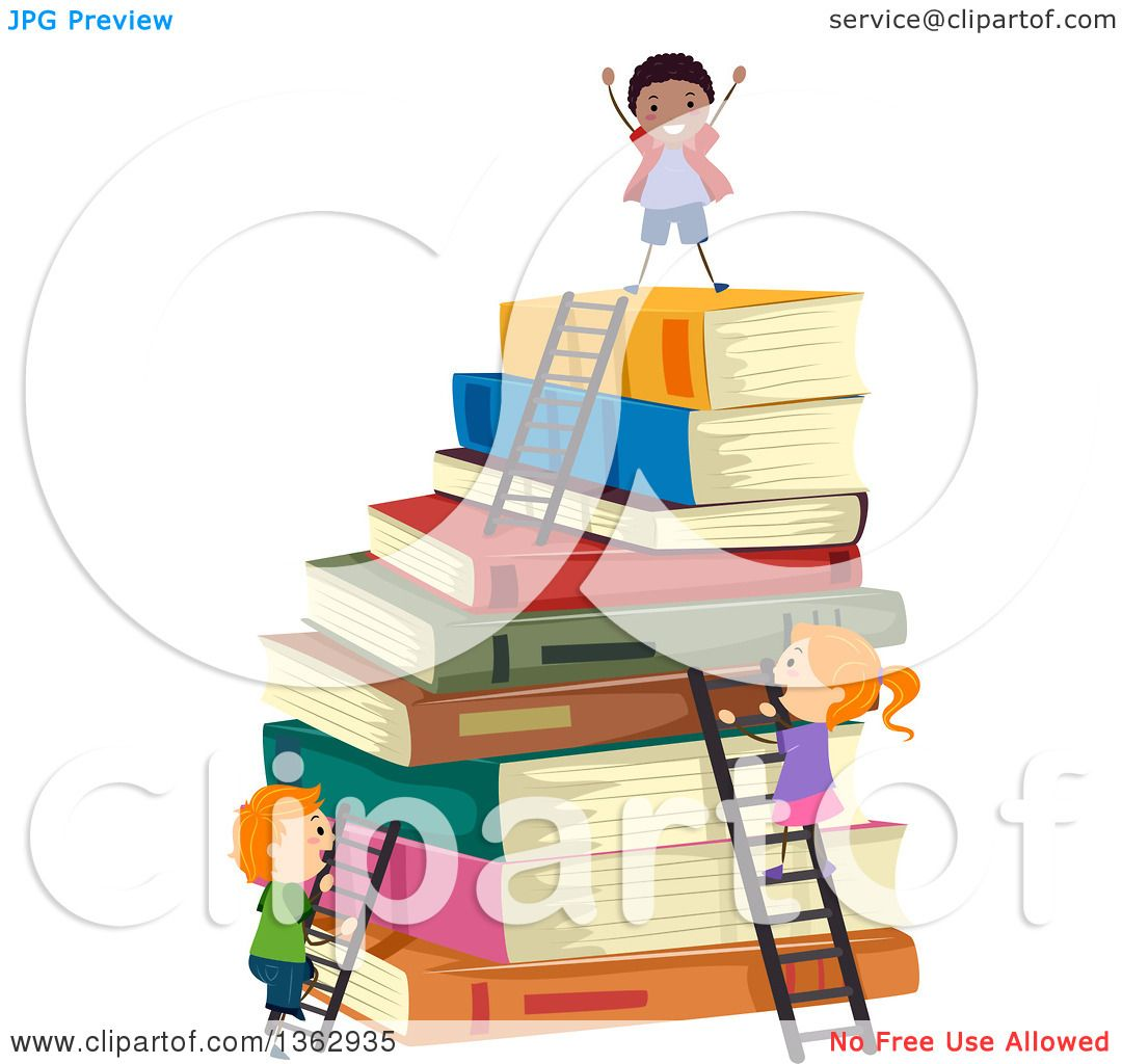 clipart of school children climbing ladders to the top of