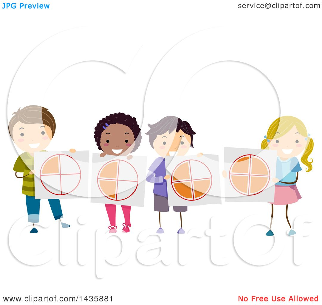 clipart of school children holding fraction pie charts - royalty