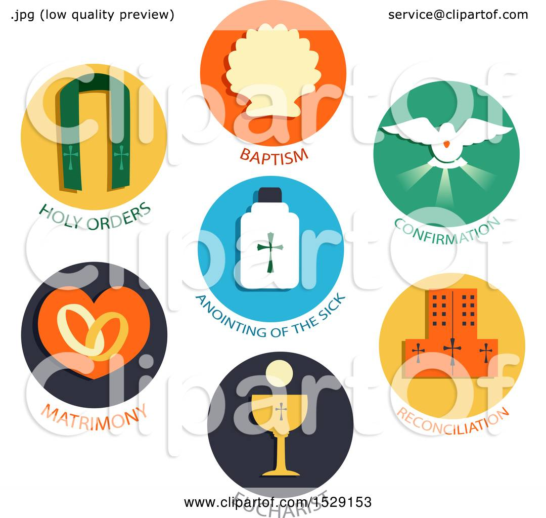Clipart of seven sacraments icons of a catholic church baptism clipart of seven sacraments icons of a catholic church baptism confirmation eucharist penance anointing of the sick holy orders matrimony royalty biocorpaavc Image collections