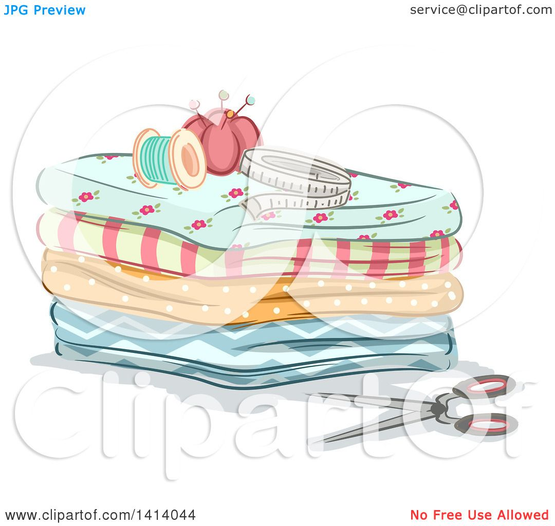 Clipart of Sewing Items on Top
