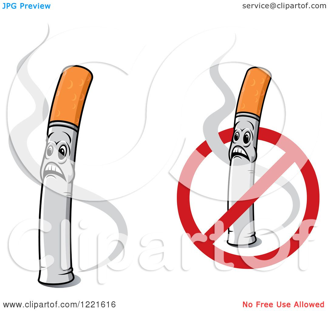 Clipart of shocked cigarette characters with smoke and a for Free clipart no copyright