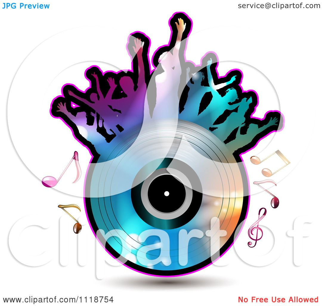 clipart of silhouetted dancers on a vinyl record with music notes 5 rh clipartof com Music Note Icon Single Music Notes