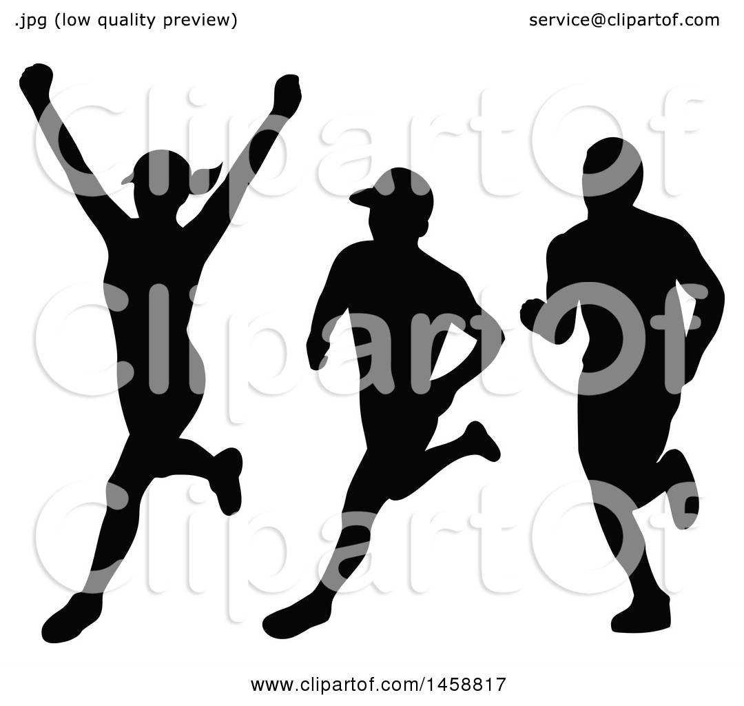 Clipart Of Silhouetted Female And Male Marathon Runners
