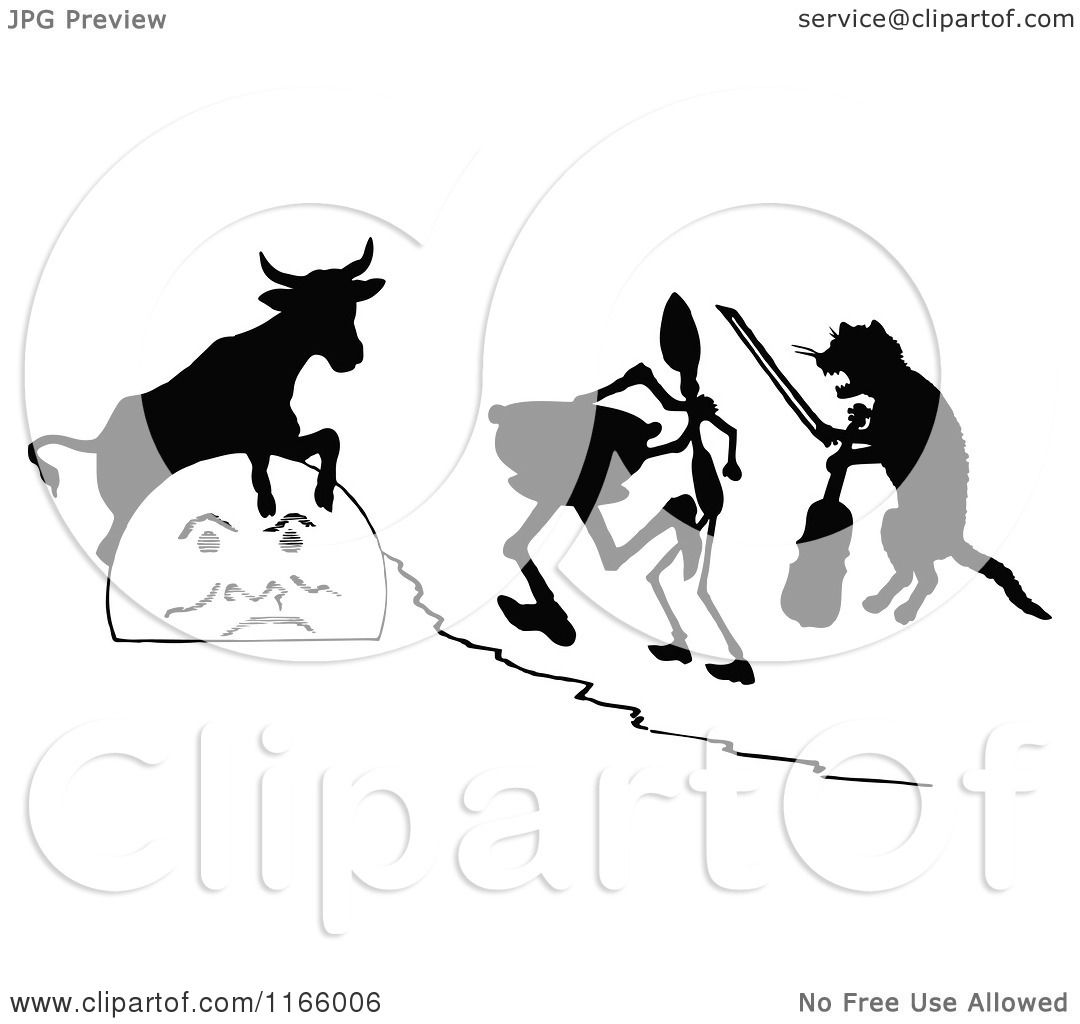 clipart of silhouetted hey diddle diddle scene royalty free