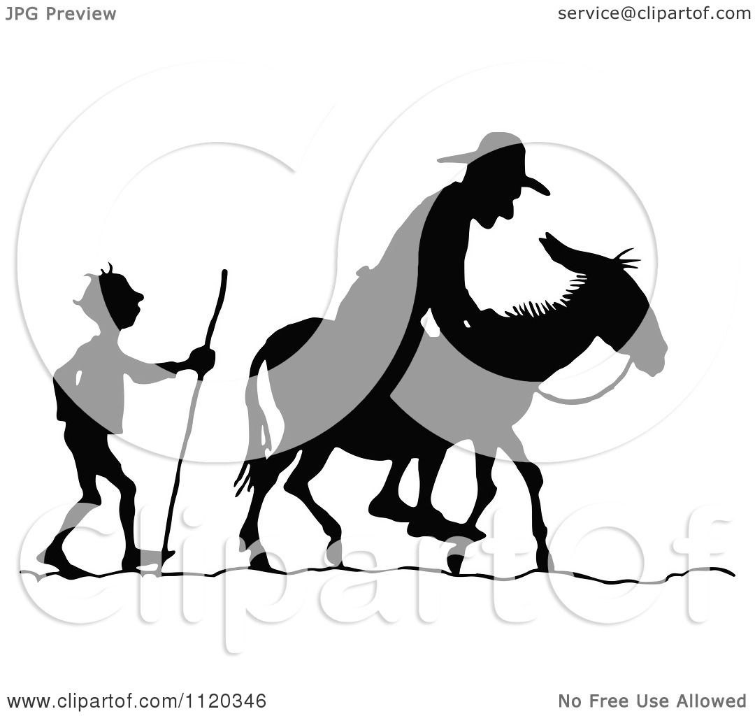 Clipart Of Silhouetted Men With A Donkey 2 Royalty Free