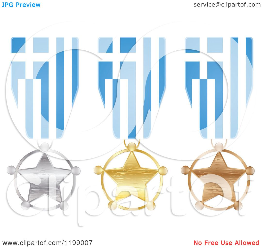 clipart of silver gold and bronze star medals with greece flag