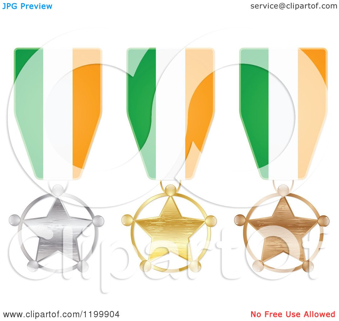 clipart of silver gold and bronze star medals with irish flag