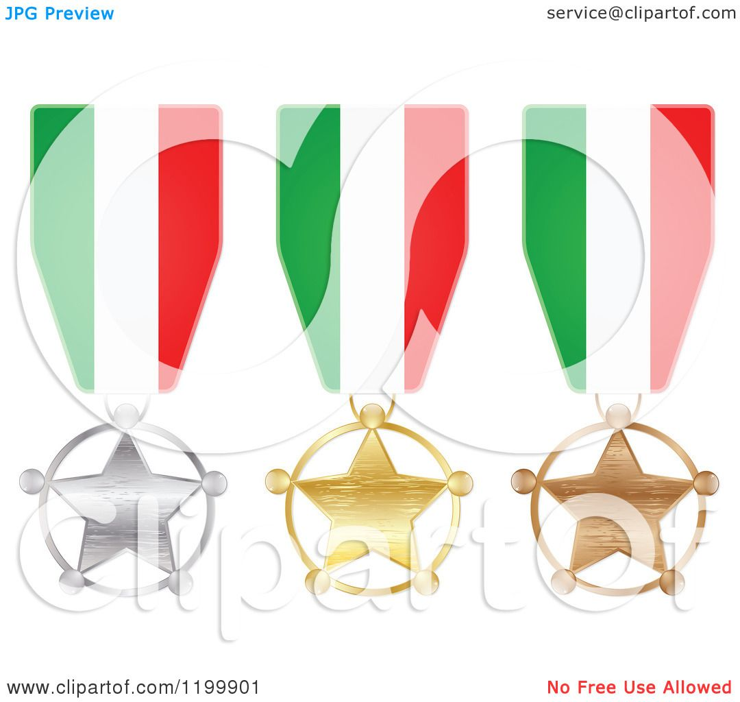 Clipart of Silver Gold and Bronze Star Medals with Italian Flag
