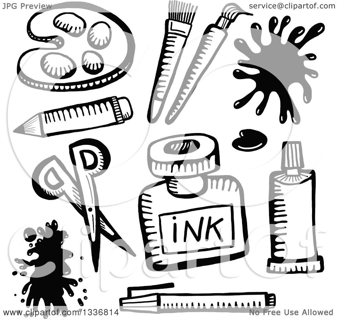 Clipart of Sketched Black and White Doodled Art Supplies - Royalty ...