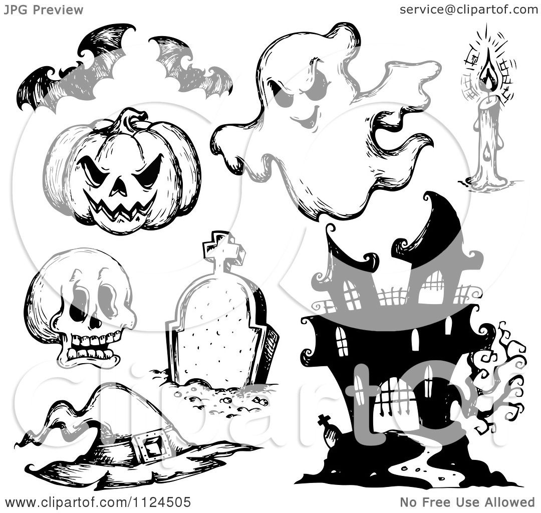 clipart of sketched black and white halloween items 1 royalty