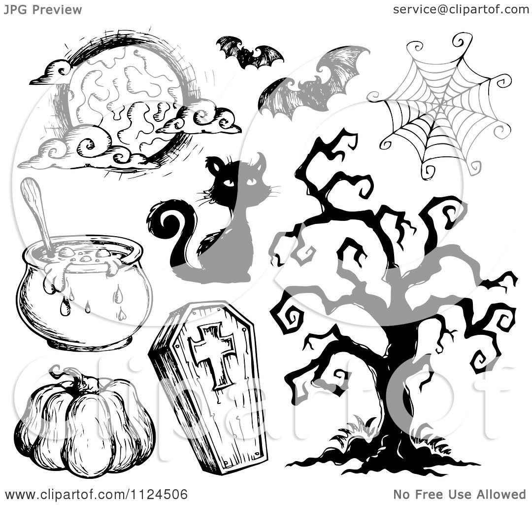 clipart of sketched black and white halloween items 2 royalty free vector illustration by visekart - Halloween Items