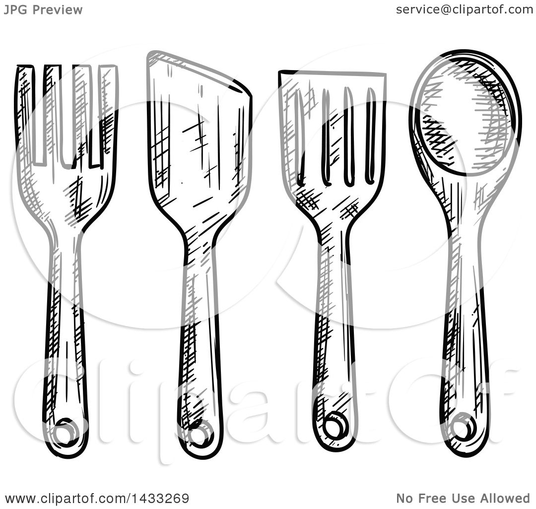 Clipart Of Sketched Black And White Kitchen Utensils Royalty Free