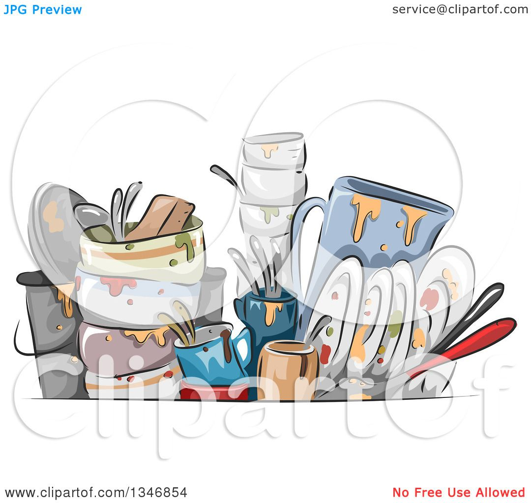 Best Washing Dishes Illustrations Royalty Free Vector: Clipart Of Sketched Dirty Dishes