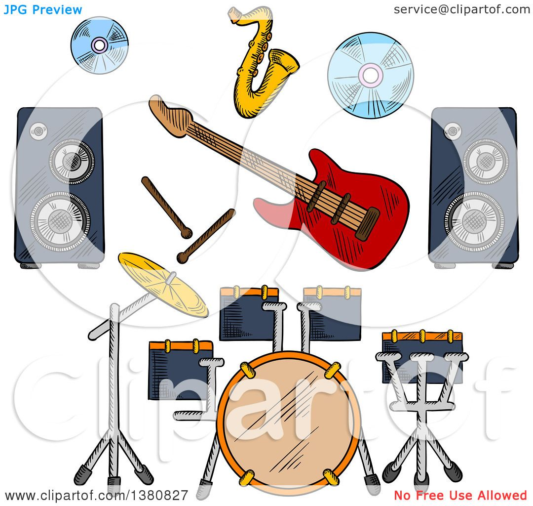 Clipart Of Sketched Musical Band Icons With Drum Set And Electric