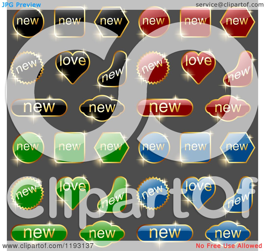 Clipart Of Sparkly Black Red Green And Blue Labels With